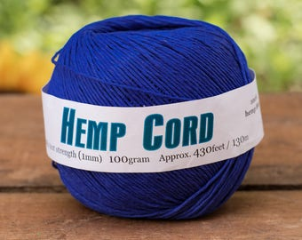 Hemp Cord,   1mm,  430 Feet,   Dyed Hemp Twine,  Navy Bead Cord, Hemp Jewelry Cord -T73