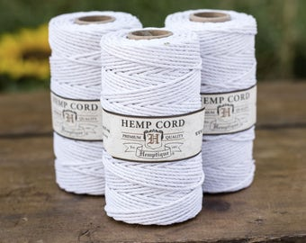 2mm Hemp Cord,  White Hemp Cord,   205 feet,  48lb,  Twine, Hemp Twine 2mm,   Colored Twine Cord 2mm -T78