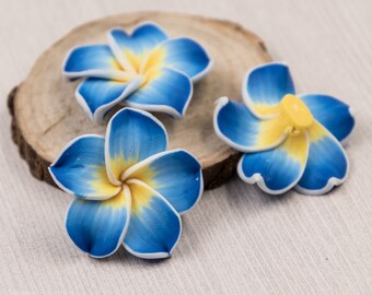 Flower Beads,  10 pcs, 30mm,   Polymer Clay Beads, Tropical Flower  -B28