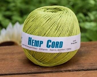 LimeHemp Cord, 1mm,  430 Feet, Dyed Hemp,  Green Hemp Twine,  Jewelry Cord   -T73