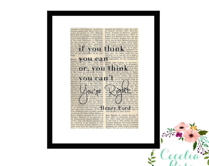 If You Think You Can Or You Think You Can't You're Right Henry Ford Inspirational Upcycled Vintage Book Page Art Box Frame or Print