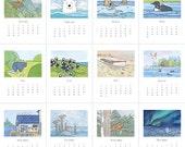 2017 Animal Calendar, whimsical monthly illustrations
