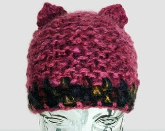 Fuchsia Pink Pussy Hat, Dark Pink Wool Hat with Cat ears, Fuchsia Pussy Beanie, Womens March,  Pussycat Hat in Fuchsia, Pussycat hat in pink