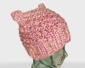Lavender Pink Pussy Hat, Pussy Cat Pink Hat, Pink Wool Hat with Cat ears, Lavender Pink Beanie, Hat Womenss March,  Pussycat Hat in Pink
