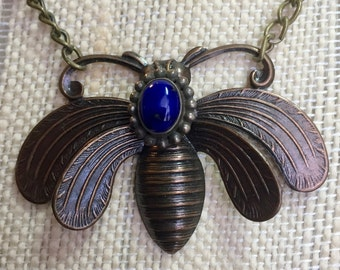 Brass Butterfly Pendant with Blue Lapis stone