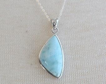 Silver Triangle Larimar Necklace, Silver Necklace, 20 inch Silver Chain, Triangle Larimar Pendant