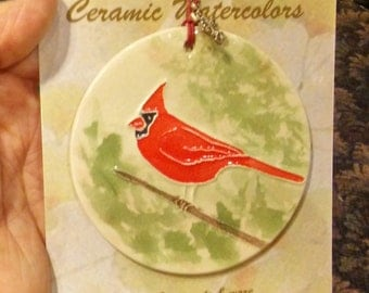 CARDINAL ORNAMENT 100% handmade ceramic  Makes great new home, family, hostess, welcome farewell gift under 25 Faith Ann Originals red bird