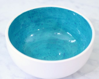 Colorful Ceramic Cereal Bowl with Turquoise Glaze with Blue Speckles // Perfect Splash of Color for Your Kitchen