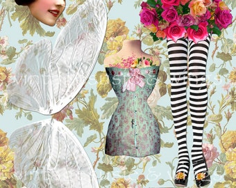 Fairy Tales Art Paper Doll Collage Sheet 'FAIRY of the GARDEN' Digital Download ROSES Fairy Paper Doll