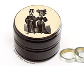 Day of the Dead Bride and Groom Wooden Box - Pill / Vitamin Box - Skull Wood Ring Box - Day of the Dead Ring Box - Wedding Rings Box