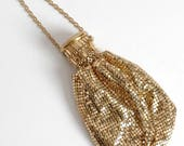 1920s vintage Whiting & Davis gold mesh purse * 1930s miser beggar bag * AC129