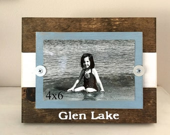 wood frame- rustic- beach frame - Mother's Day gift- cottage decor- reclaimed wood- personalized- photo frame- picture holder- wall art