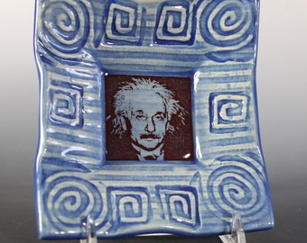 Albert Einstein Dish in Cobalt Blue Glaze