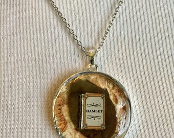 Shakespeare's Hamlet Silver Circle Collage Pendant Necklace