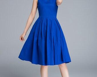 blue dress, summer dress, party dress, linen dress, sleeveless dress, pleated dress, girls dresses, handmade dress, daily dress  1656