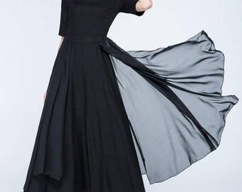 black dress, linen dress, chiffon dress, layered dress, fit and flare dress, modern dress, maxi dress, short sleeves dress, summer dress1754