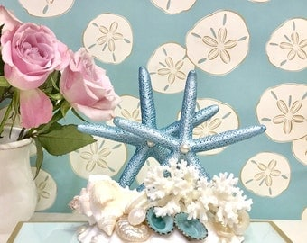 Beach Wedding Cake Topper with Starfish, Seashells, Coral and Pearls