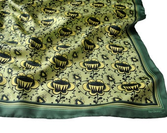Buttercup Silk Scarf / Yellow Silk Scarf / Green Silk Scarf / Floral Silk Scarf / Silk Scarf