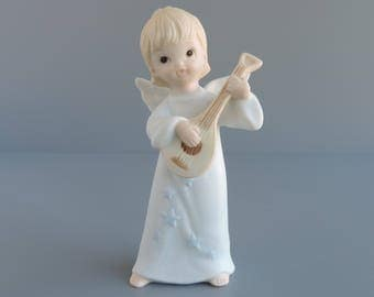 Vintage Lefton Barefoot Angel Figurine, Girl Playing Mandolin Stringed Instrument, Christopher Collection, Angelic Musicians, TWL-04452