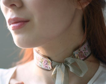 Floral necklace, ribbon choker, victorian choker, blush pink, sage green, flower choker, vintage necklace, jewelry, bridal choker, adornment
