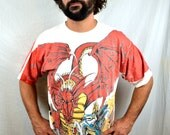 Vintage 1994 All Over Print Dragon Knight Fantasy Sci Fi 90s Oversized Tee Shirt Tshirt