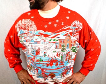 Vintage 80s Ugly Christmas Puffy XMAS Santa Sleigh Winter Scene Snow Glitter Sweatshirt