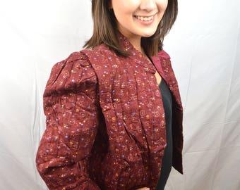 Vintage Maroon Re Floral Quilted Jacket Blazer - Cleveland Street