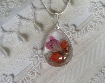 Shades of Pink Bougainvillea w/Dewdrops Encased In Glass Pressed Flower Teardrop Pendant-Symbolizes Playfulness-Unique & One Of A Kind