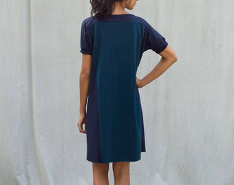 Sale, Color Block Dress, size Extra Small, Blues, Women's Dress, Bamboo Jersey, Tunic- ready to ship