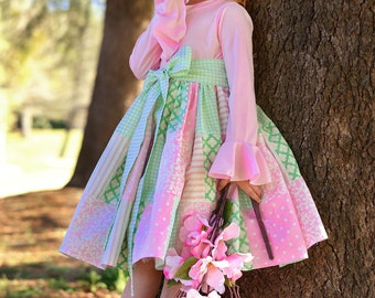 Easter Dress, Girls Easter Dress, Pink and Mint Dress, Girls Patchwork Dress, Peasant Dress, Girls Twirl Dress, Easter Dress, Spring Dress
