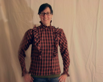 1980s Pantree red and black plaid side button down blouse. Steampunk Prairie size 6