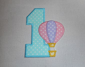Free Shipping Ready to Ship Number 1 Balloon  Machine Embroidery iron on applique