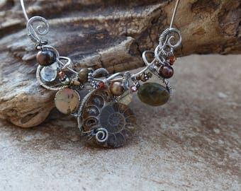 Sterling Silver Freeform Wirework Ammonite &  Gemstone Necklace