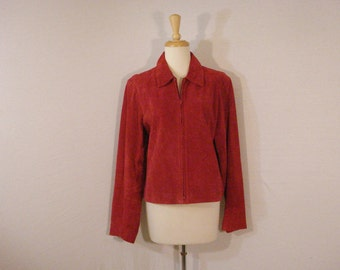 Red Leather Jacket Zipper Front Junction West L