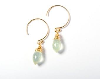 Hoop Earrings, Gemstone Hoop Earrings, Drop Earrings, Gemstone Drop Earrings, Green Gemstone Earrings, Everyday Earrings, Dainty Earrings