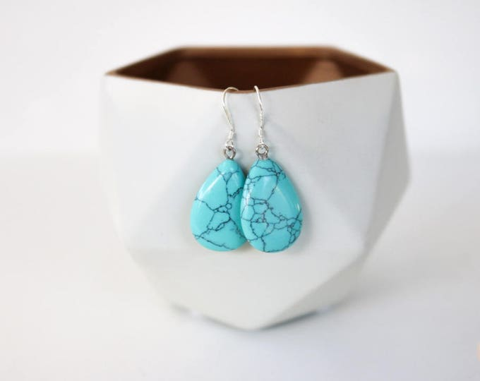 Turquoise Teardrop Dangle Earrings/ Howlite Semi Precious Stone.
