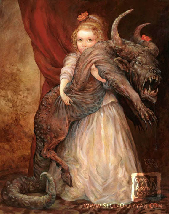The Favorite (print) - little girl - monster - pet - meme - child - portrait - dragon - beauty and the beast - funny art