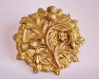 Thistle  Flower  Brooch Gold Tone
