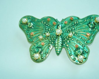 Green Butterfly Pearl Rhinestone Brooch