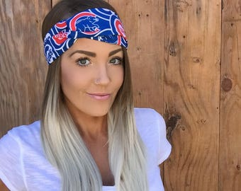 Chicago Cubs Vintage Pinup Turban Headband    Hair Band Baseball Accessory Cotton Workout Yoga Fashion Red Royal Blue White Head Scarf Girl