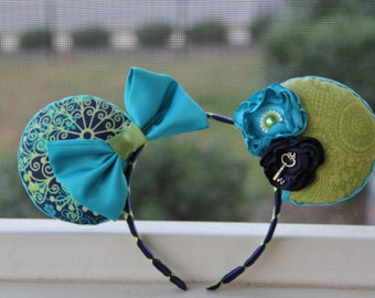 Disney Mouse Ears Turquoise & Olive Green