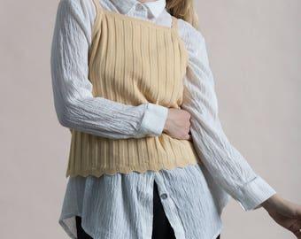 Vintage 90s Cream Ribbed Knit Tank Top / Small Medium
