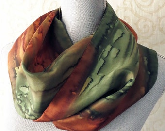 Silk Scarf Hand Dyed in Olive and Copper Brown