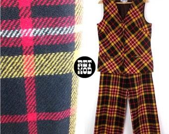 Cool Vintage 60s 70s Red, Yellow and Black Plaid Pant Suit Set - Preppy Hippie Wonderful!