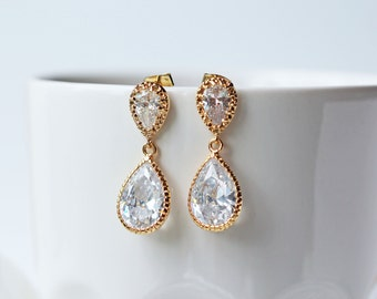 Gold Cubic Zirconia Wedding Earrings Crystal Glass Teardrop Earrings