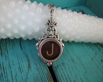 Typewriter Key Jewelry - Typewriter Necklace Letter J