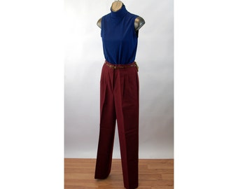 1980s pants high waist pleated burgundy maroon dress pants New with Tags  NWT Counterparts Size S/M