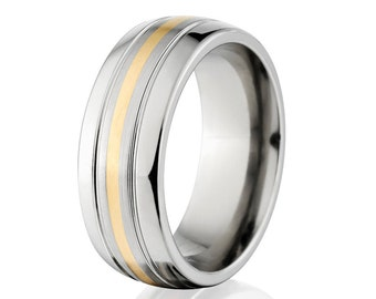 Cobalt Ring, Wedding Band 14K Inlay, Comfort Fit - Made in USA Cobalt Wedding Band: COB-7HR2G11CG-14K