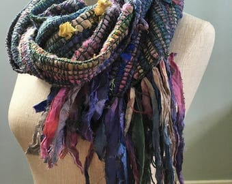 Handwoven Recycled Sari Silk Ribbon & Cotton Scarf // blue /purple / pink / green / multicolor / boho / sustainable / upcycled / lightweight