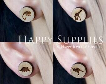 4pcs Mini (SMN123-126) DIY Laser Cut Wooden Earring Charms - SWC Series